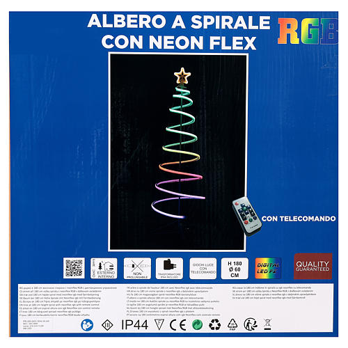 LED spiral Christmas tree, 496 LEDs RGB multi-color electric powered 8