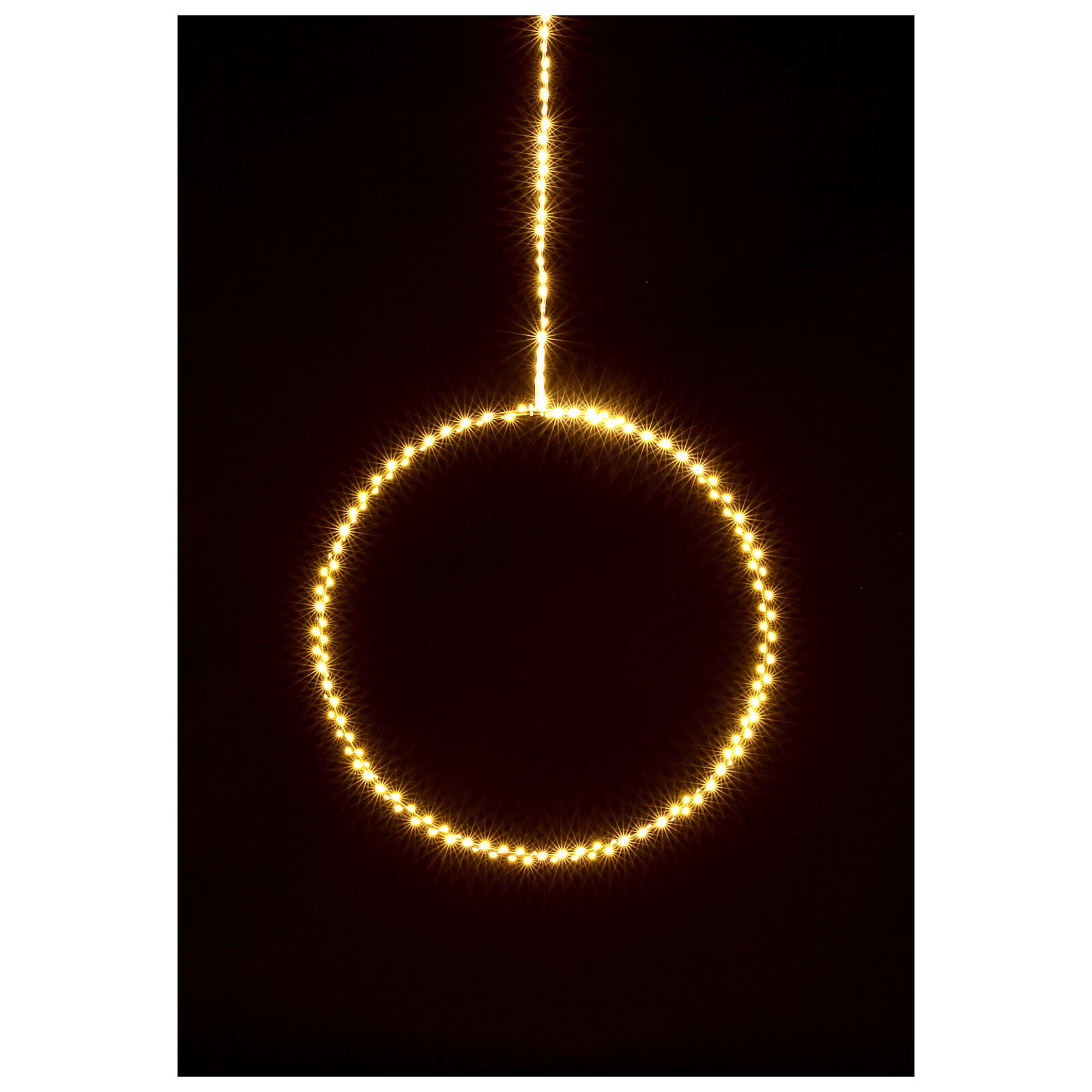 Anello luminoso Natale gocce led bianco caldo d. 50 cm interno 220V 3