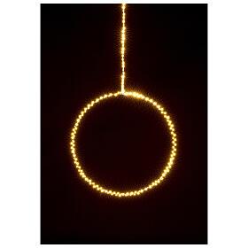 Anello luminoso Natale gocce led bianco caldo d. 50 cm interno 220V s2