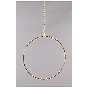 Anello luminoso Natale gocce led bianco caldo d. 50 cm interno 220V s6