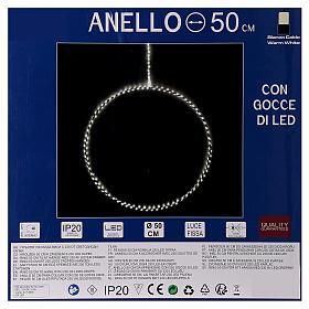Anello luminoso Natale gocce led bianco caldo d. 50 cm interno 220V s10