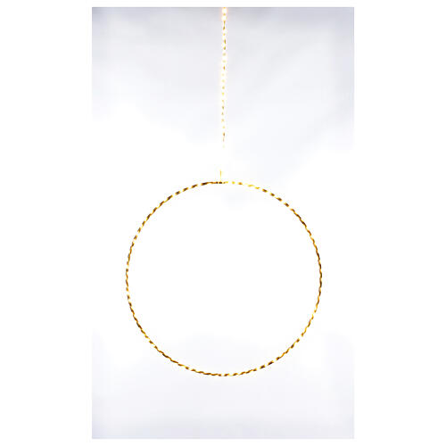 Anello luminoso Natale gocce led bianco caldo d. 50 cm interno 220V 1
