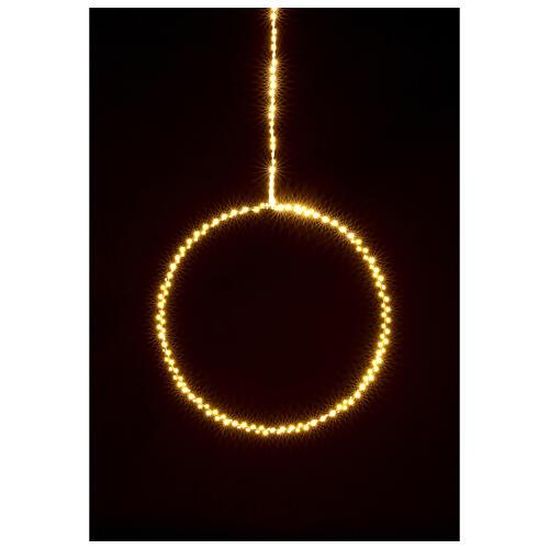 Anello luminoso Natale gocce led bianco caldo d. 50 cm interno 220V 2