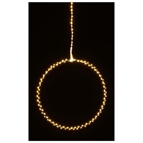 Anello luminoso Natale gocce led bianco caldo d. 50 cm interno 220V 7