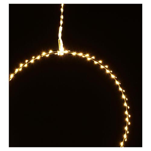 Anello luminoso Natale gocce led bianco caldo d. 50 cm interno 220V 8
