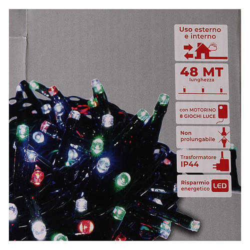 Cadena luminosa Navidad verde 1200 led multicolor controller exterior 220V 5
