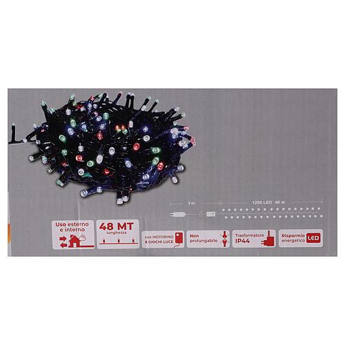 Guirlande lumineuse Noël verte 1200 LED multicolores interrupteur pour extérieur 220V 5
