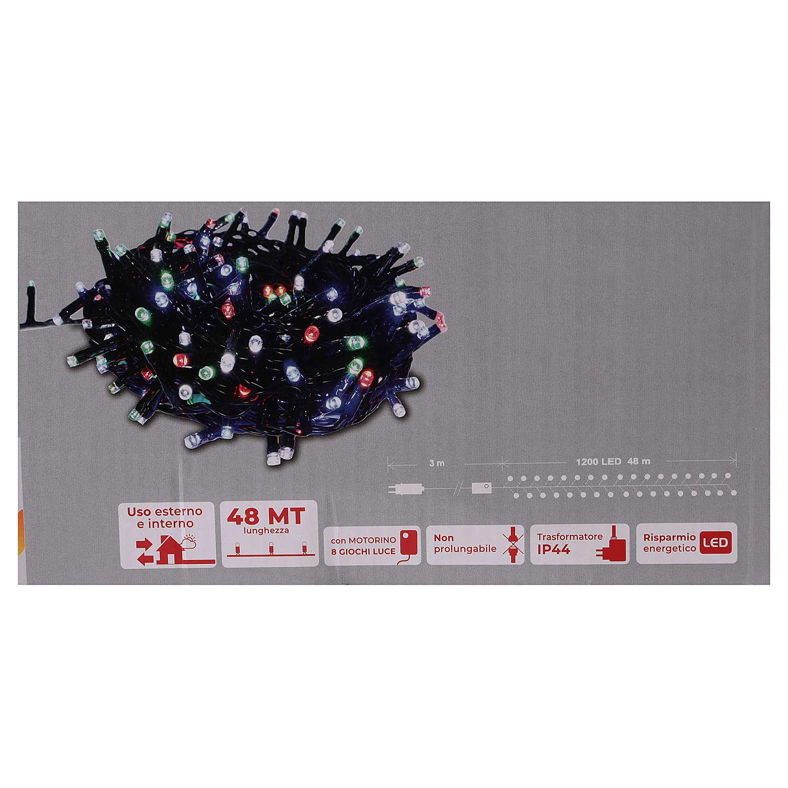 Catena luminosa Natale verde 1200 led multicolore controller esterno 220V 3
