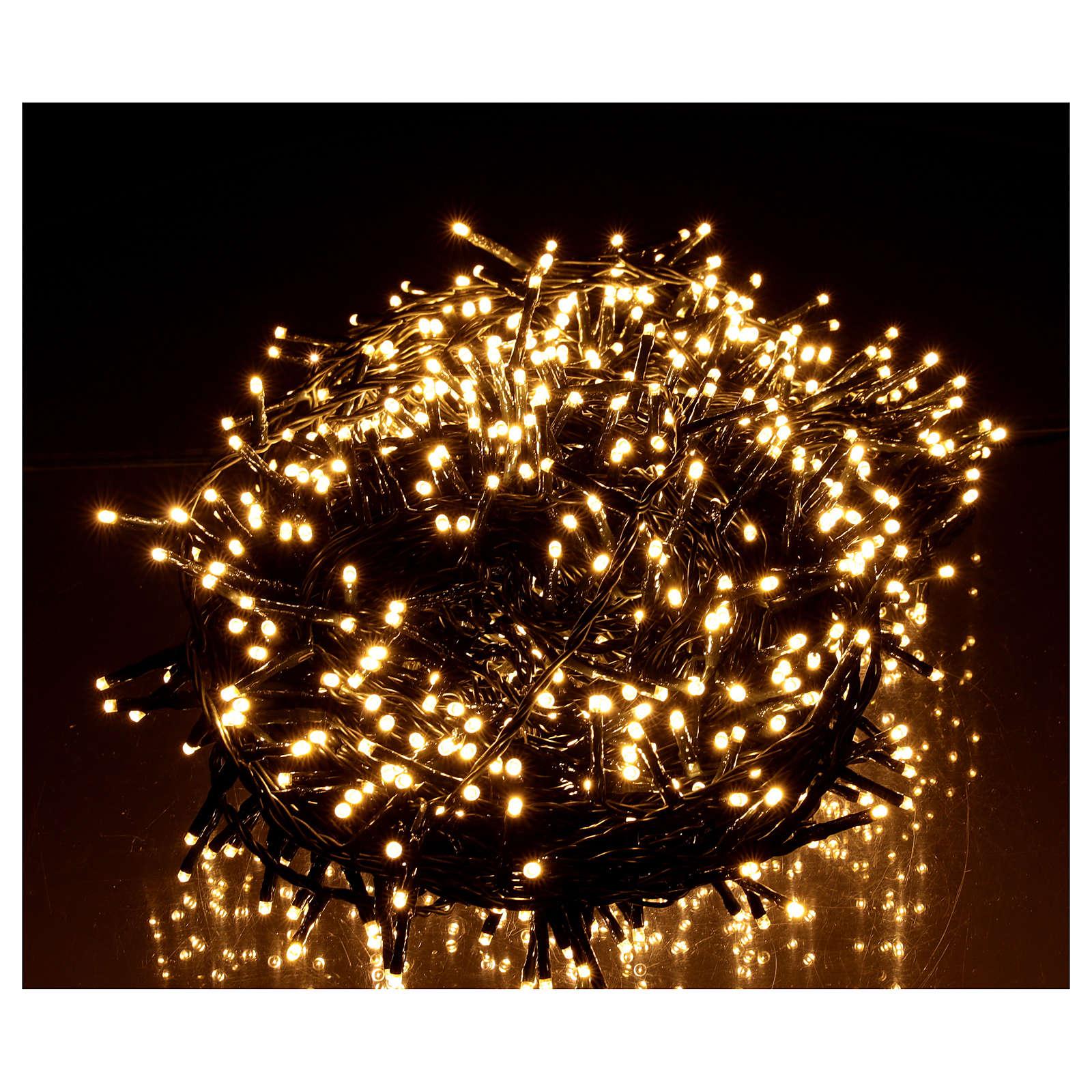 Cadena luminosa Navidad 1000 led blanco cálido control remoto exterior 220V 3