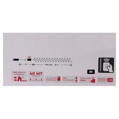 Christmas lights 1000 warm white LEDs external remote control 220V 7