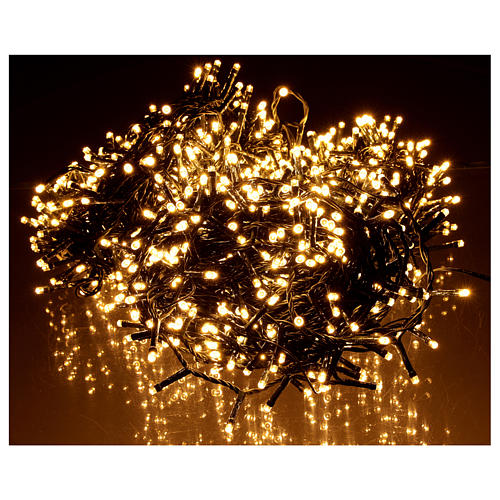 Cadena luminosa Navidad 1200 led blanco cálido exterior 220V 2