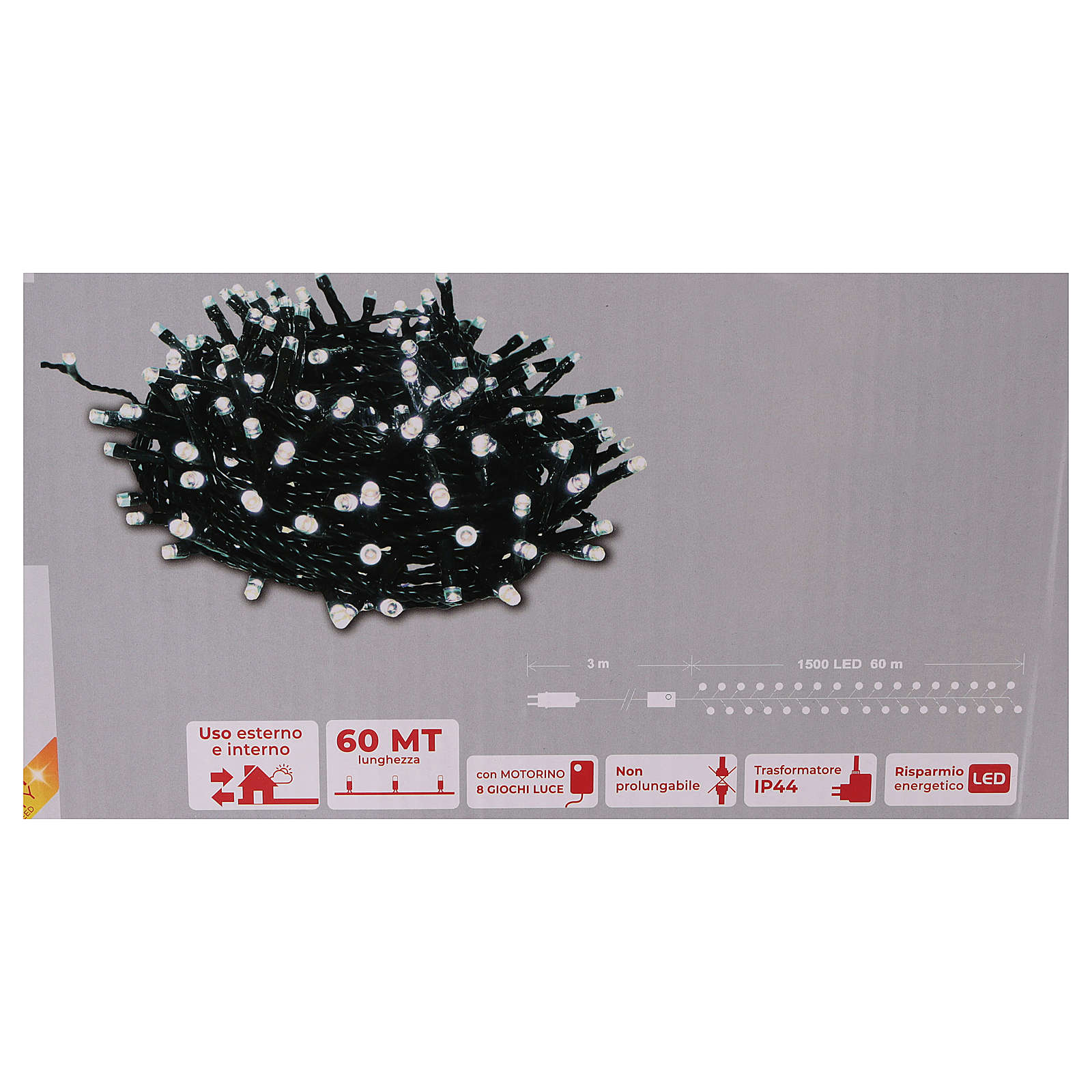 Cadena luminosa navideña 1500 led blanco frío exterior 220V 3