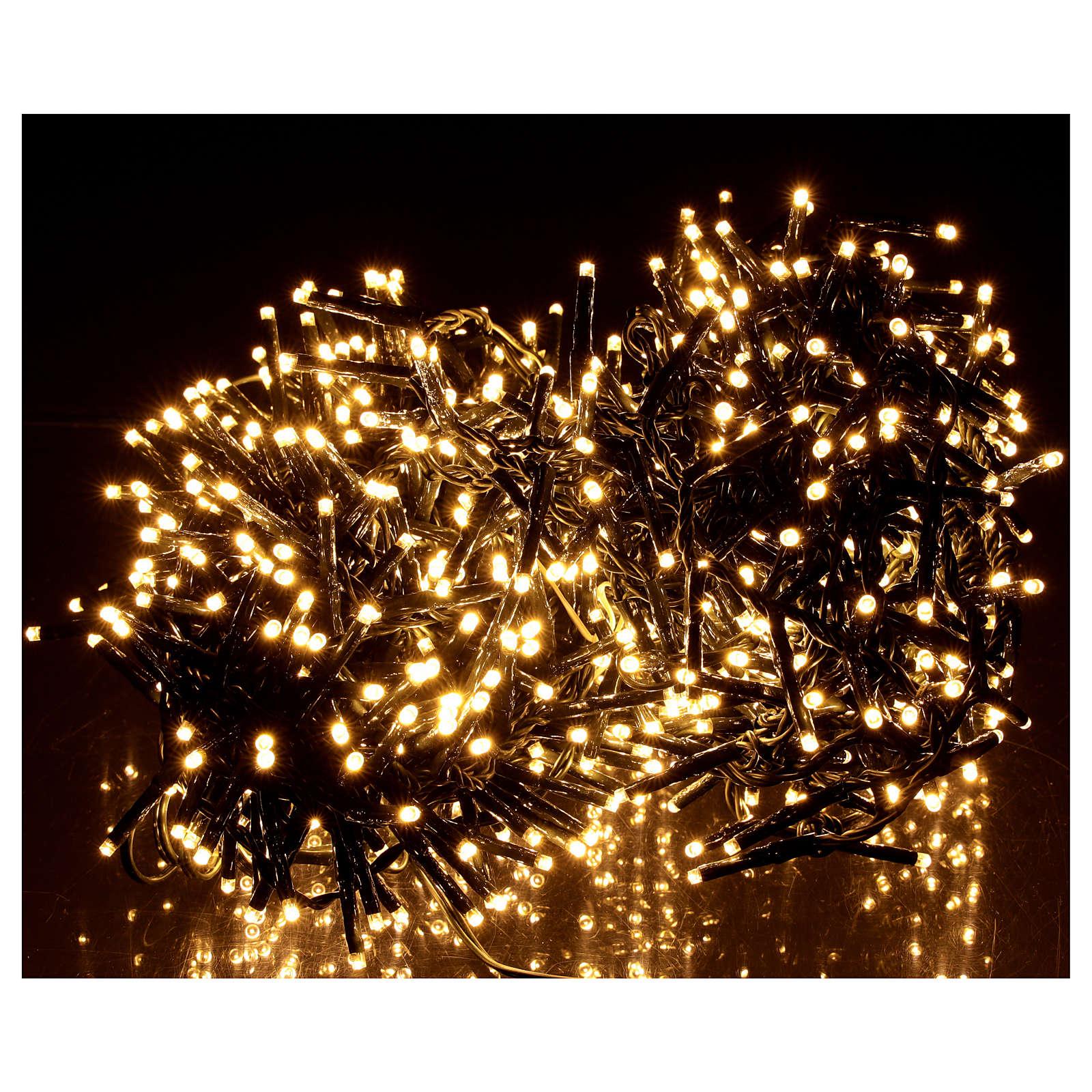 Cadena luminosa navideña verde 750 led blanco cálido para exterior 3