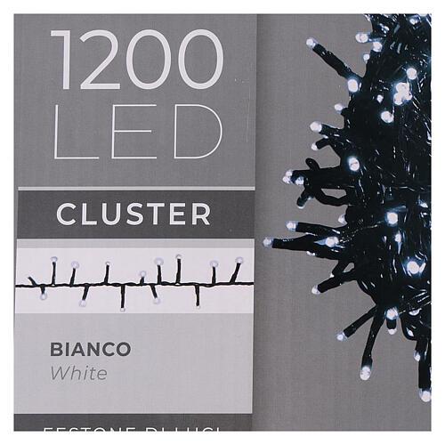 Cadena Luz Navidad verde 1200 led blanco frío exterior 24 m 220V 6