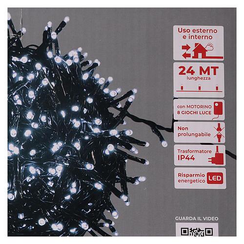 Guirlande lumineuse de Noël verte 1200 LED blanc froid pour  extérieur 24 m 220V 5