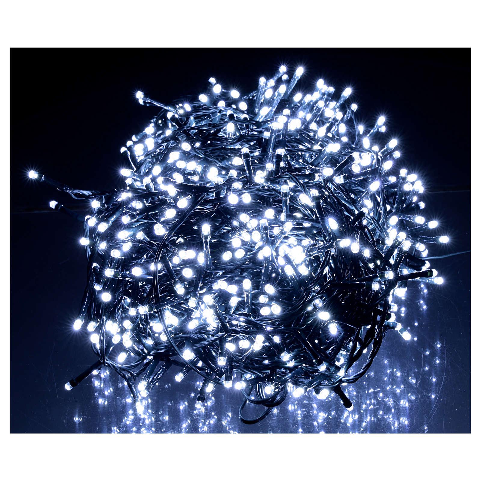Cadena Luz Navidad verde 1200 led blanco frío 220V exterior 48 m 3