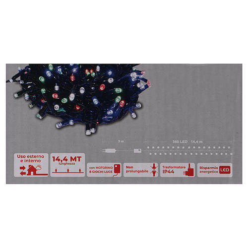 Catena luminosa Natale 360 led multicolore per esterno 220V controller 6