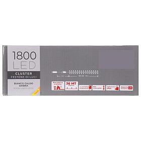 Catena Luce Natale 1800 led bianco caldo ambra telecomando esterno 220V s8