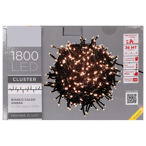 Catena Luce Natale 1800 led bianco caldo ambra telecomando esterno 220V 7