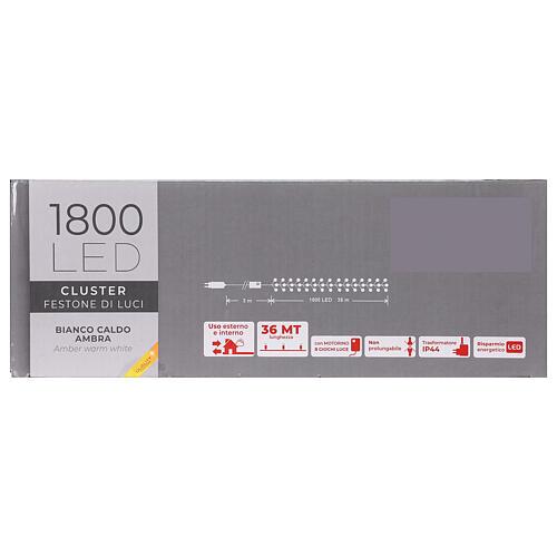Catena Luce Natale 1800 led bianco caldo ambra telecomando esterno 220V 8