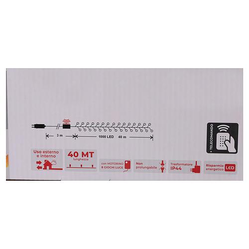 Cadena luminosa navideña 1000 led blanco frío control remoto exterior 220V 6