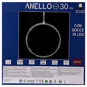 Anello luminoso natalizia gocce led bianco caldo d. 30 cm interni 220V s10