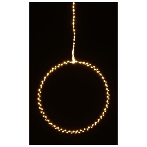 Anello luminoso natalizia gocce led bianco caldo d. 30 cm interni 220V 7