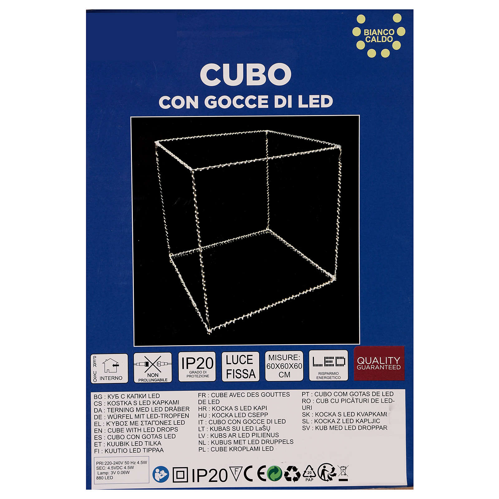 Cubo luminoso 60 cm con 880 gota led blanco cálido interior corriente 3
