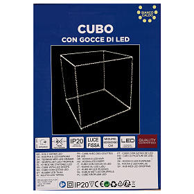 Cubo luminoso 60 cm con 880 gota led blanco cálido interior corriente s6