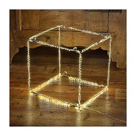 Cubo luminoso 60 cm con 880 gota led blanco cálido interior corriente s1