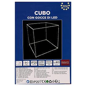 Cubo luminoso 60 cm con 880 gota led blanco cálido interior corriente s6