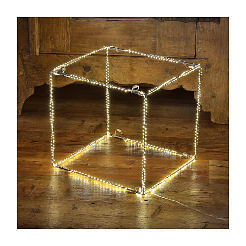 Cubo luminoso 60 cm con 880 gota led blanco cálido interior corriente 1