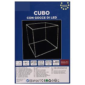 Cubo luminoso navideño 50 cm con 740 led blanco cálido interior corriente s7