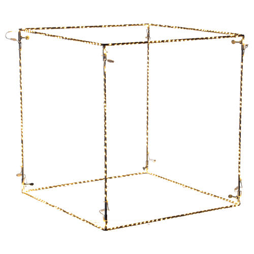 Cubo luminoso natalizio 50 cm con 740 led bianco caldo interno corrente 1