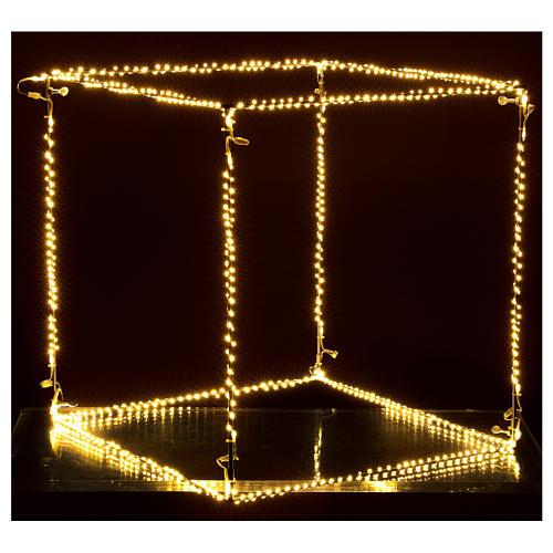 Cubo luminoso natalizio 50 cm con 740 led bianco caldo interno corrente 2