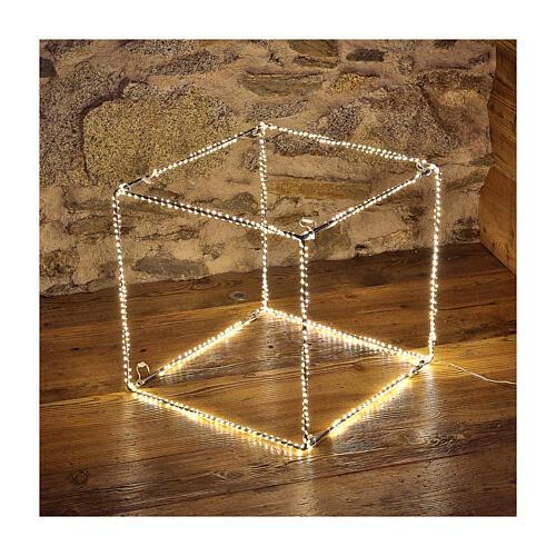 Cubo luminoso navideño 40 cm con 720 led blanco cálido interior corriente 1