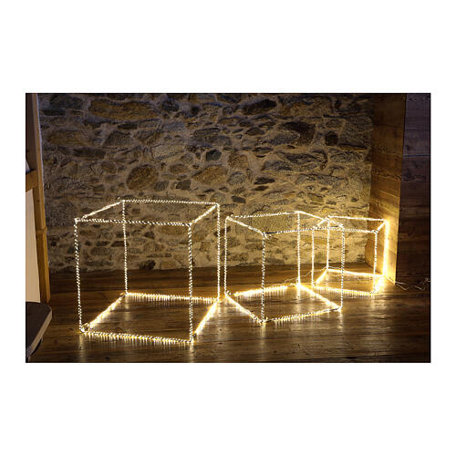 Cubo luminoso navideño 40 cm con 720 led blanco cálido interior corriente 2