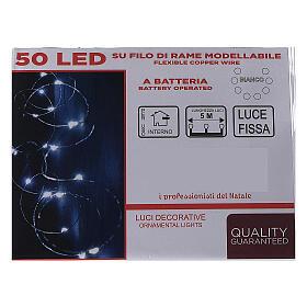 Cadena luminosa con batería 5 m 50 gotas led blanco frío interior s4