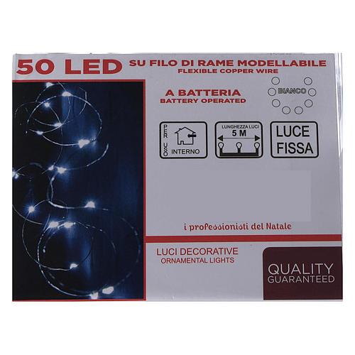 Cadena luminosa con batería 5 m 50 gotas led blanco frío interior 5