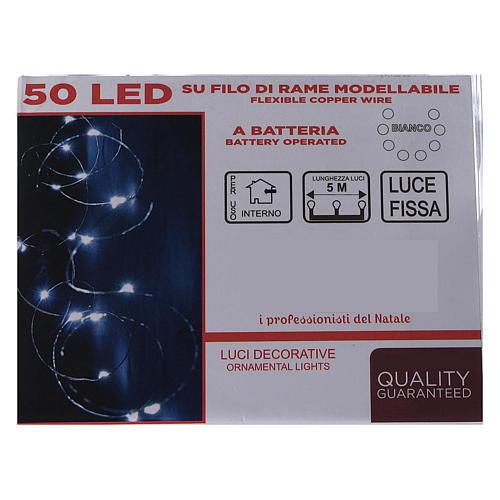 Catena luminosa a batteria 5 m 50 gocce led bianco freddo interno 5