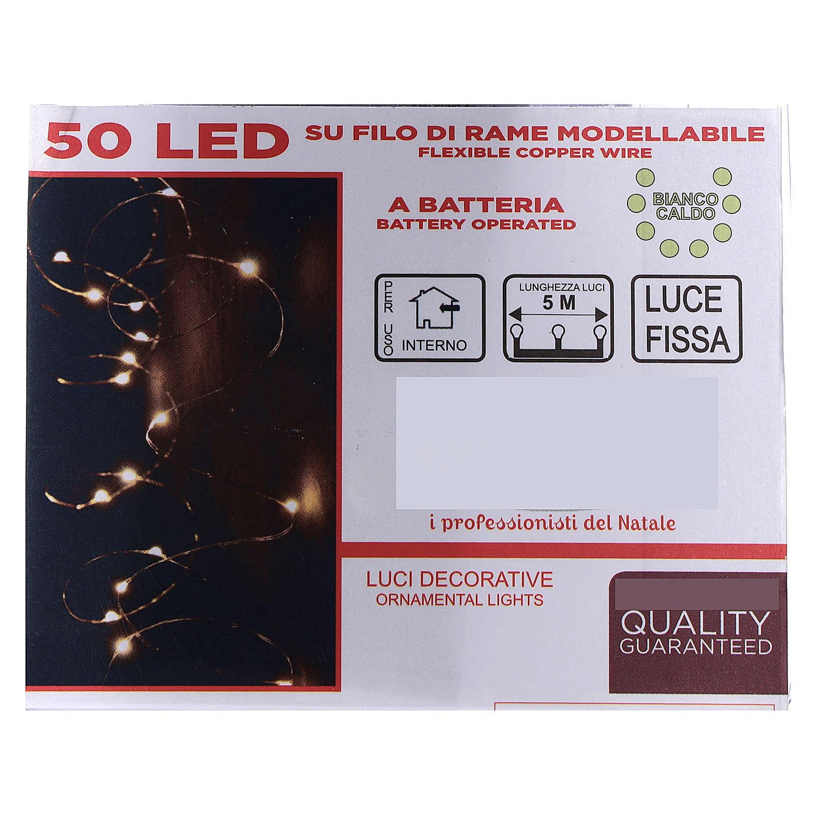 Cadena luminosa 5 m con batería 50 gotas led blanco cálido interior batería 3