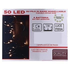 Cadena luminosa 5 m con batería 50 gotas led blanco cálido interior batería s4