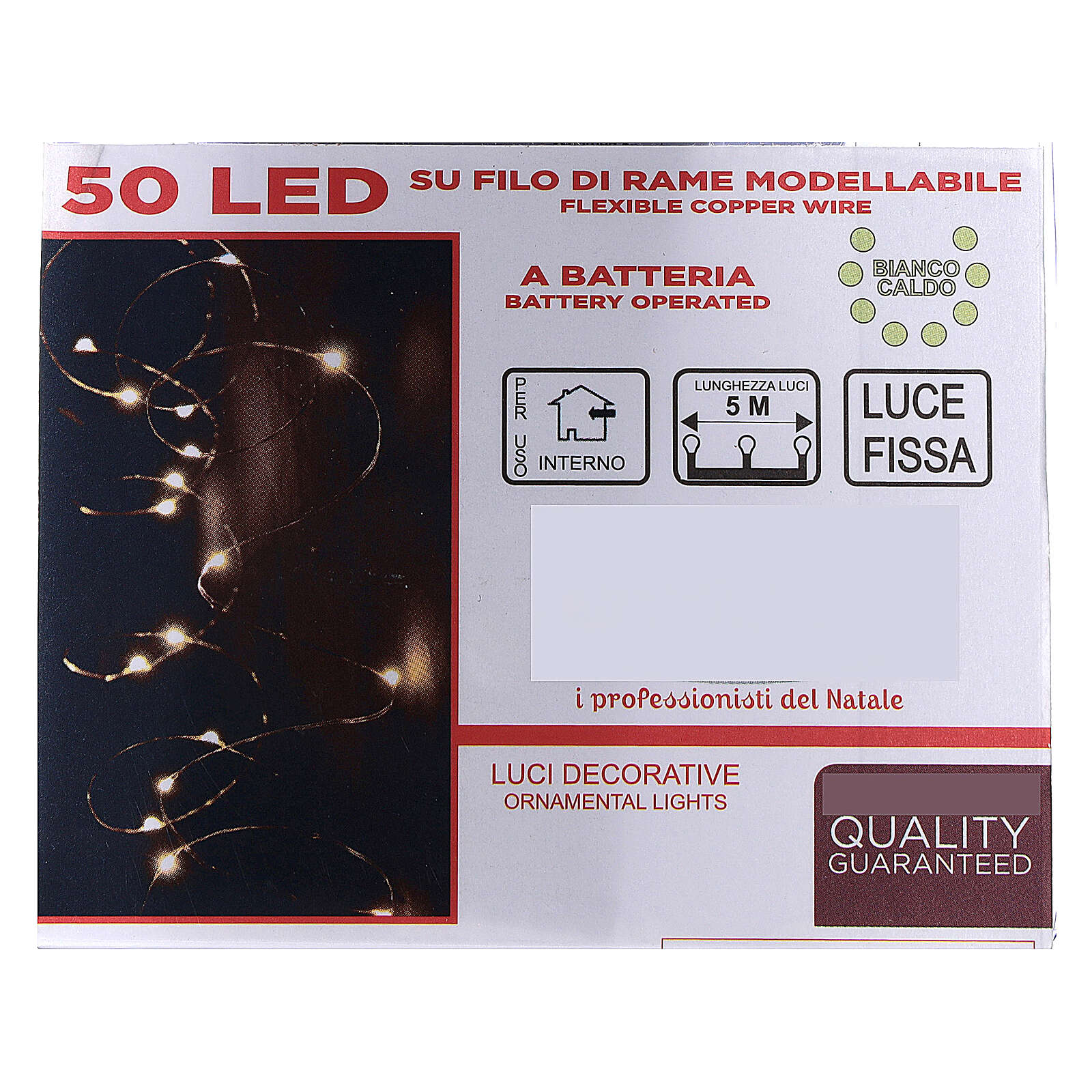 Fairy lights 5 m battery operated 50 warm white LEDs indoor 3