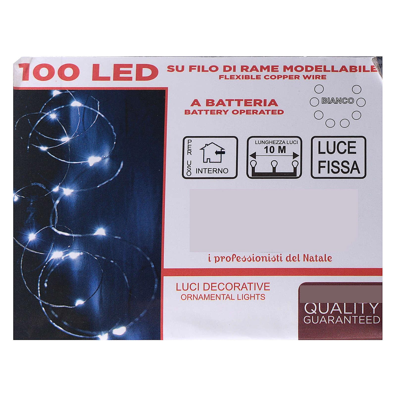 Cadena luminosa batería 10 m 100 gotas led blanco frío interior 3