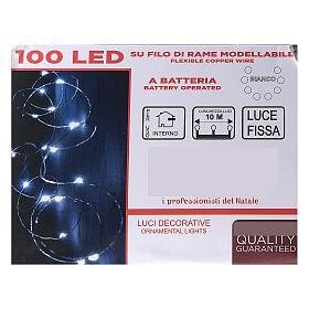 Cadena luminosa batería 10 m 100 gotas led blanco frío interior s3