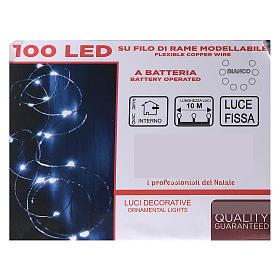 Catena luminosa batteria 10 m 100 gocce led bianco freddo interno s4