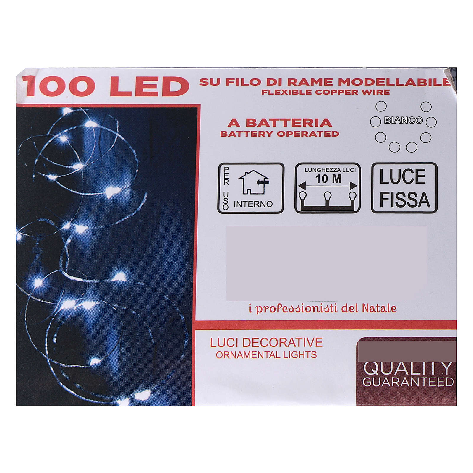 Clear string lights battery operated 10 cm 100 white cold LEDs indoor 3