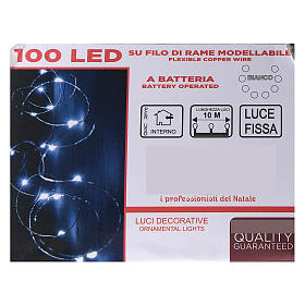 Clear string lights battery operated 10 cm 100 white cold LEDs indoor s4