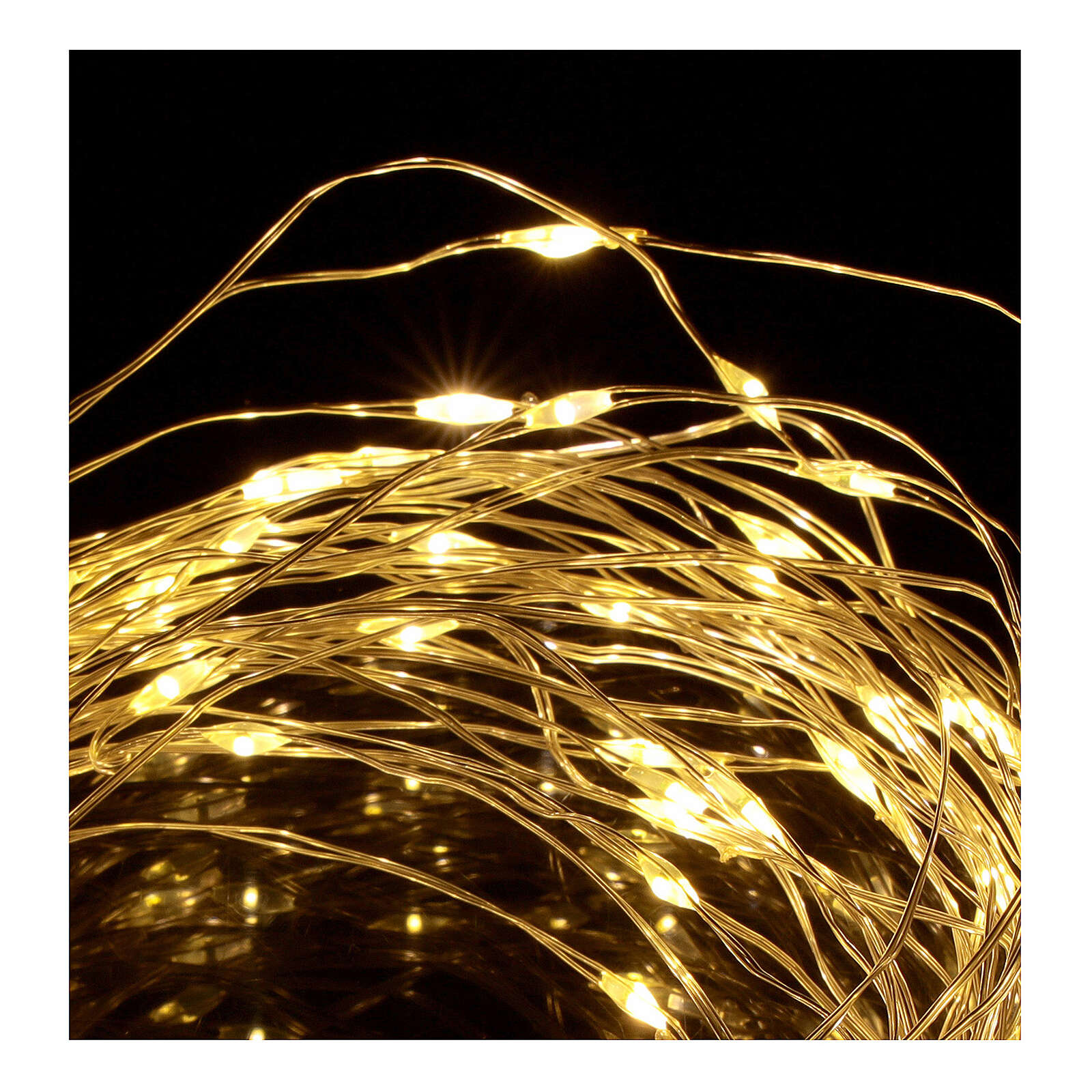 Warm white clear string lights battery operated 10 m 100 LEDs 3