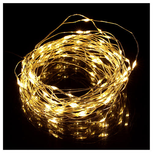 Warm white clear string lights battery operated 10 m 100 LEDs 2